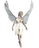 Pale Angel. Beautiful female angel with pale skin, blonde hair and white feather wings, 3d digitally rendered illustration Stock Photo