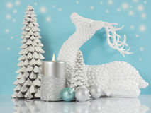 Pale aqua blue, silver and white Christmas scene Stock Photo
