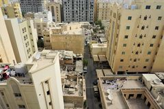 Apartment buildings outside of Doha in Qatar stock images