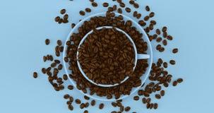 Pale Blue Coffee Cup un platillo lleno de granos de café fotografía de archivo