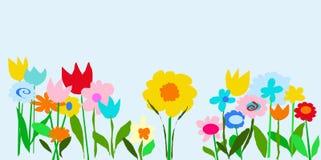 Pale Blue Color Garden. Original mouse drawn floral graphic illustration by Rachel Knoblich Stock Photo