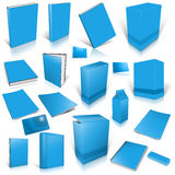 Pale blue 3d blank cover collection. Isolated on white Royalty Free Stock Photos