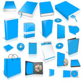 Pale blue 3d blank cover collection. Pale blue 3d blank cover collection, isolated on white Royalty Free Stock Images