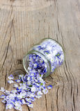 Pale blue flower petals rained down from the glass jars Royalty Free Stock Photos