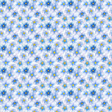 Pale blue flower seamless pattern. Hand-painted watercolor floral illustration. Forget-me-not flower pattern tile. Gentle pastel flowers and leaves. Spring Stock Photo