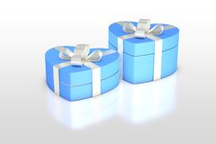 Pale blue gift box in heart shape Stock Photography