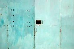 Pale Blue Metal Door royalty free stock photo
