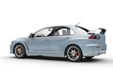 Pale Blue Powerful Modern Car op Witte Achtergrond Stock Fotografie