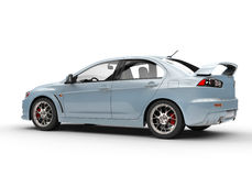 Pale Blue Powerful Modern Car på vit bakgrund Arkivbild