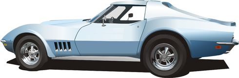Pale Blue Sports Car Royalty Free Stock Photo