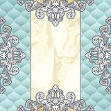 Pale blue vintage banner with metallic ornaments Stock Images