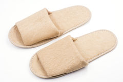 Pale brown slippers Stock Photos