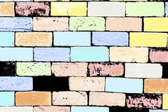 Pale color.  Colorful brick wall Stock Image