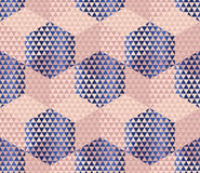 Pale color geometry hexagon seamless fabric sample. Royalty Free Stock Image