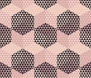 Pale color geometry hexagon seamless fabric sample. Stock Photos