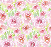 Pale color rose flowers seamless pattern. Stock Photo