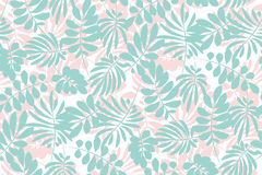 Pale color tropical leaves seamless pattern Royalty Free Stock Photos