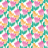 Pale color tulip flower seamless, pattern. Royalty Free Stock Image