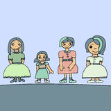 Pale colored set of four cute graphic hand drawn girls Royalty Free Stock Images