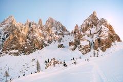 Pale di San Martino - Dolomiti. People who make trekking in the snow - Pale di San Martino, Dolomiti Stock Image