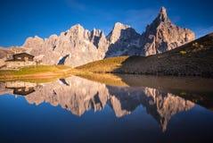 Pale di San Martino. Group shines at sunset Royalty Free Stock Image
