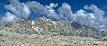 Pale di San Martino highland, Dolomites. Panoramic view from the magnificent plateau of the Pale di San Martino, Dolomites stock photos