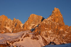 Pale di San Martino at the sunset stock photography