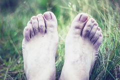 The pale and frozen feet of a young man Royalty Free Stock Images