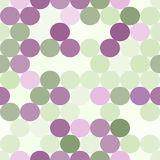 Pale green and purple vector seamless pattern with circles. Royalty Free Stock Photography