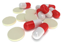 Pale of medical pills - tablets 3d Royalty Free Stock Photos