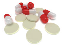 Pale of medical pills - tablets 3d Stock Photography