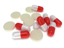 Pale of medical pills - tablets 3d Royalty Free Stock Photography