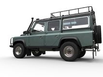 Pale metallic green four wheel drive - off road car - side view Stock Photography