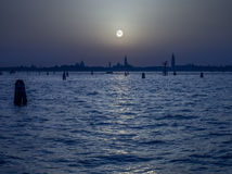 Pale Moon over Venice Italy Royalty Free Stock Images