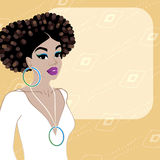 Pale orange background with dark-skinned woman Royalty Free Stock Images