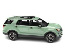 Pale pastel green modern SUV car. Isolated on white background vector illustration