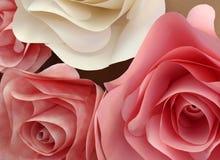 Pale Pink Origami Roses Made av papper Royaltyfri Fotografi