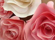 Pale Pink Origami Roses Made van Document Royalty-vrije Stock Fotografie