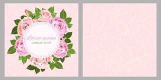 Pale pink roses-32. Floral vector wedding invitations with pink and beige roses wreath and place for text on the pink background. Flower design for greeting card Stock Photography