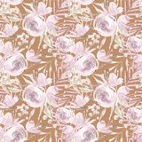 Pale pink roses and peonies with gray leaves on ocher background. Seamless pattern. Romantic garden flowers illustration. Faded colors Stock Photography