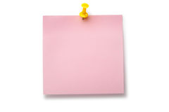 Pale pink sticker on yellow thumbtack. Placed on white background Royalty Free Stock Photography