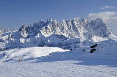 Pale range and ski-run, dolomites Stock Photography
