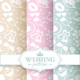 Pale romantic seamless patterns Stock Images