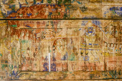Pale and ruin Thai painting in Pratart Lampangluang Temple,Thail Stock Photo