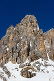 Pale of San Martino and Pradidali mountain hut, Dolomites, italy Royalty Free Stock Photo