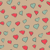 Pale seamless heart background. Endless pattern, hand drawn. Stock Images