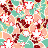 Pale seamless pattern. Elegant seamless pattern with leaves and flowers Royalty Free Stock Photo