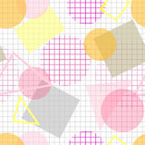 Pale seamless pattern with pink, yellow and grey geometric shape Stock Images