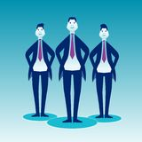 Three cheeky businessmen stand in costumes stand on a blue background vector illustration
