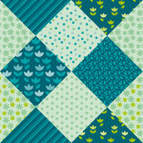 Pale spring color tulip flower and geometry motif patchwork Stock Images